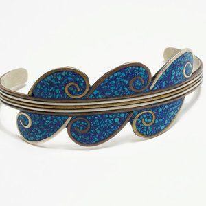 Mexican Bracelet Vintage Turquoise Alpaca Silver